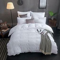 100% Cotton Woven Seersucker Stripe Duvet Cover Set - Queen