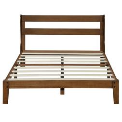 SLEEPLACE 12 inch Wood Platform Bed with Headboard,