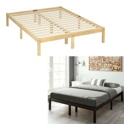 14 Inch Solid Wood Platform Bed Frame Queen Full Size with W