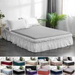"""16"""" Drop Bed Skirt Elastic Dust Ruffle Easy Fit Wrap Around"""