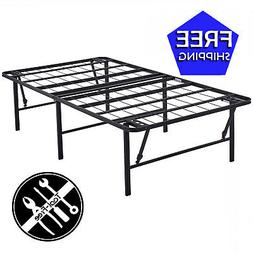 18 inch High Profile Foldable Steel  Bed Frame, Powder-Coate