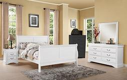 1PerfectChoice LOUIS PHILIPPE 4PCS WHITE QUEEN SLEIGH BEDROO