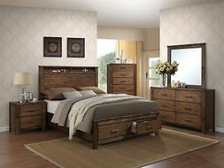 Acme Furniture 21680Q Merrilee Bed with Storage, Queen, Oak