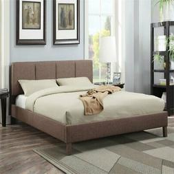 Acme Furniture 25080Q Rosanna Queen Bed L-Brown Linen-1 Set