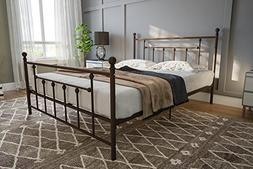 DHP Manila Metal Bed with Victorian Style Headboard and Foot