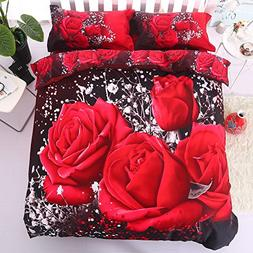 Alicemall 3D Rose Bedding Queen Big Red Rose Black Prints 4