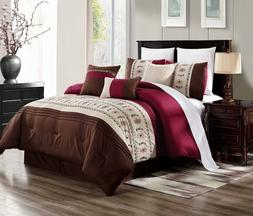 3PC DUVET BED COMFORTER COVER SET COUNTRY STYLE BROWN BURGUN