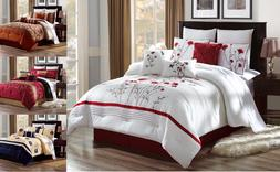 3PC EMBROIDERY FLORAL DESIGNS DUVET COMFORTER BED COVER SET