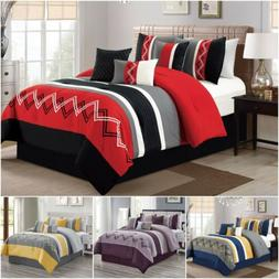 7 Pieces Modern Pleated Stripe Embroidered Zigzag Bedding Co
