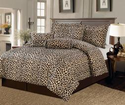 Beautiful 7 Pc Brown and Beige Leopard Print Faux Fur, Queen
