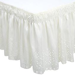Dainty Home Queen/King Wrap Around Eyelet Bed Ruffle, Ivory