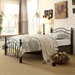 Homelegance 2020TBK-1 Metal Platform Bed, Twin, Black and Br