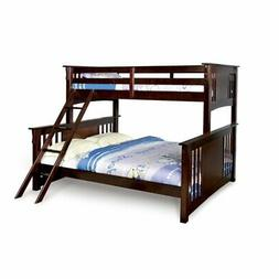 NEW Youth Twin over Queen Wood Bunk Bed with ladder in Dark