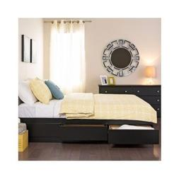 Queen Platform Bed With Storage Drawers Black Beds Frame Con