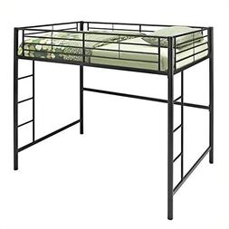 WE Furniture Full Metal Loft Bed - Black
