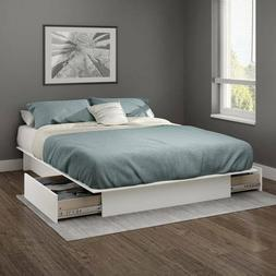 White Queen or Full Size Platform Bed Frame with Storage Dra