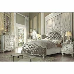 ACME Versailles Queen Wings Bed in Vintage Gray and Bone Whi