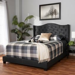 Baxton Studio Alesha Fabric Tufted Queen Bed in Charcoal Gre