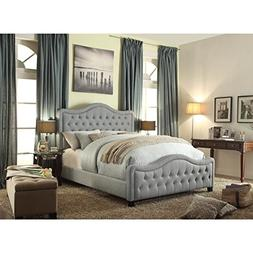 Alton Adella Waved Top Linen Upholstered Queen Bed in Gray