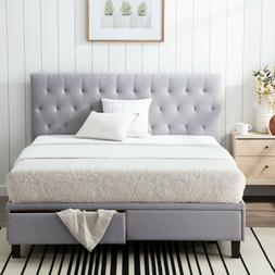 Brookside Anna Upholstered Storage Bed with Two Drawers - Tw