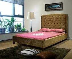 Greatime B1133 Queen Size Taupe Color Velvet Fabric Bed,