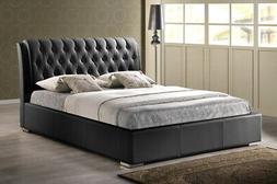 Baxton Studio Bianca Modern Bed with Tufted Headboard Black