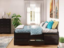 Prepac BBQ-6212-K Tall Queen Sonoma Platform Storage Bed wit
