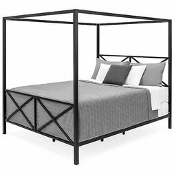 bcp modern metal canopy queen bed frame