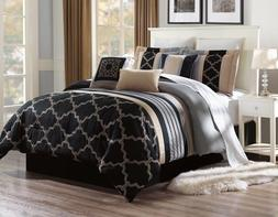 BEAUTIFUL BLACK DUVET TAUPE SILVER PATTERN COMFORTER BED COV