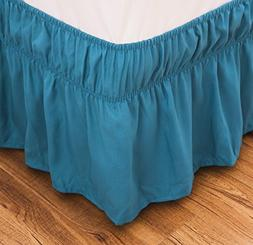 Bed Skirt-14 Inch Drop Dust Ruffle Three Fabric Sides Wrap A