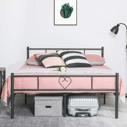 Black Metal Bed Frames Platform Bed Mattress Foundation w/ H