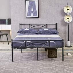 Black Metal Bed Frames Platform Bed Mattress Foundation with