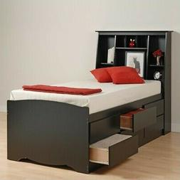 Prepac Sonoma Black Tall Queen Bookcase Platform Storage Bed