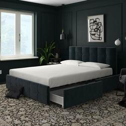 Blue Velvet Luxury Queen Size Bed Frame With Storage 4 Drawe