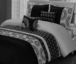 Bohemian Boho Bedding Black Grey Gray Embroidered Mandala Me
