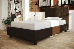 DHP BROWN Faux Leather Button tufted Queen size Platform Bed