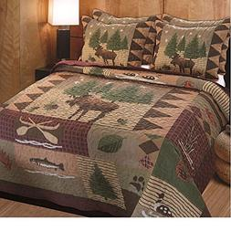 3 Piece Brown Green Burgundy Outback Theme Quilt Full Queen