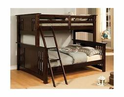 247SHOPATHOME Bunk Bed Twin Over Full Size Solid Wood Veneer