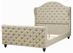 Button Tufted Queen Bed in Beige