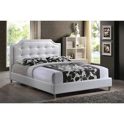 Carlotta White Modern Queen Bed with Upholstered Headboard