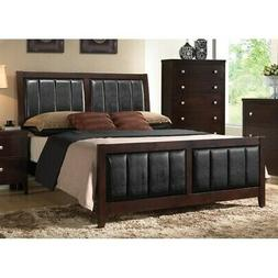 Coaster Carlton Faux Leather King Panel Bed in Black and Cap