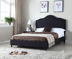"Home Life Cloth Black Linen 51"" Tall Headboard Platform Bed"