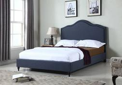 "Home Life Cloth Blue Linen 51"" Tall Headboard Platform Bed w"