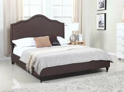 "Home Life Cloth Brown Linen 51"" Tall Headboard Platform Bed"