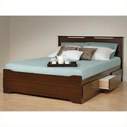 Prepac Coal Harbor Queen Platform Storage Bed with Headboard