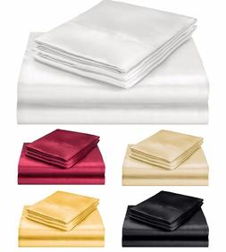 ELEGANTE COLLECTION ULTRA PURE SOFT SILKY SATIN 4PC QUEEN BE
