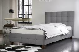 Contemporary Rose Upholstered Bed, Gray Linen, Twin, Multipl