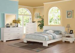 Contemporary Style Queen King Bedroom Set 5pc Bed in White 2