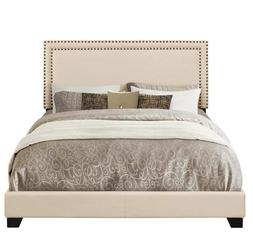 Pulaski Cream Upholstered Bed with Nail Head Trim, Queen
