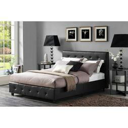 Dakota Faux Leather Upholstered Bed, Black, Multiple Sizes